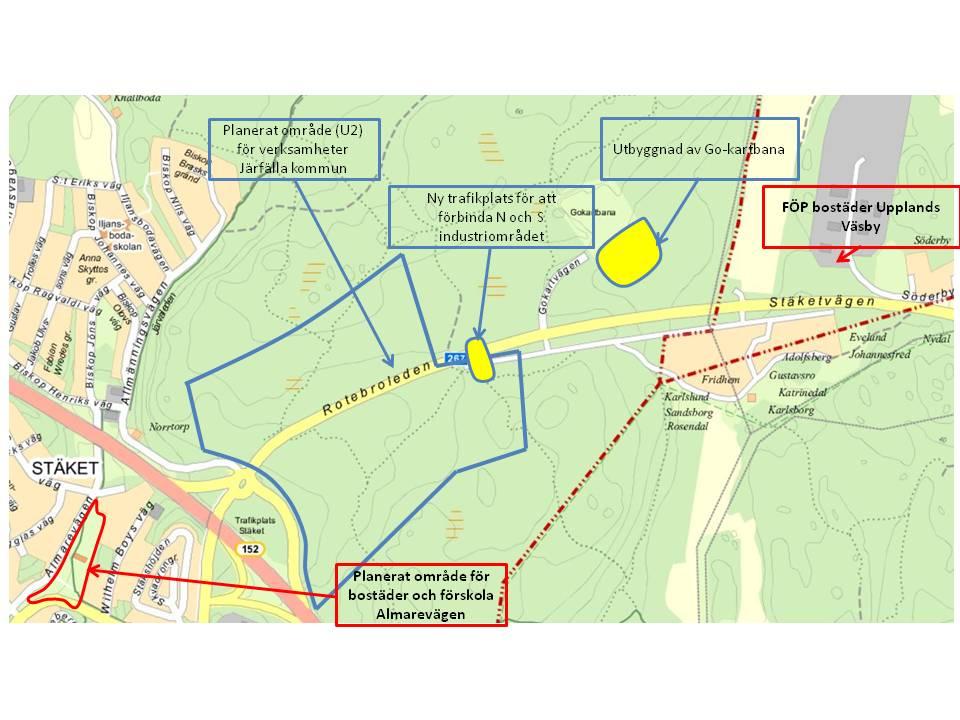 Karta över bebyggelsen läge i förhållande till verksamhetsområdet vid Rotebroleden