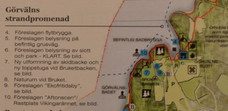 Del av Mälarens strandpromenad vid Görväln. I Brukets gård är Naturum redovisat.