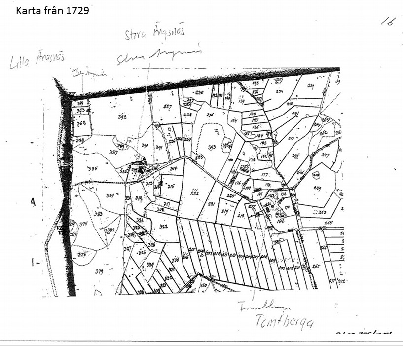 Karta från 1729 som visar ängar och inägor.