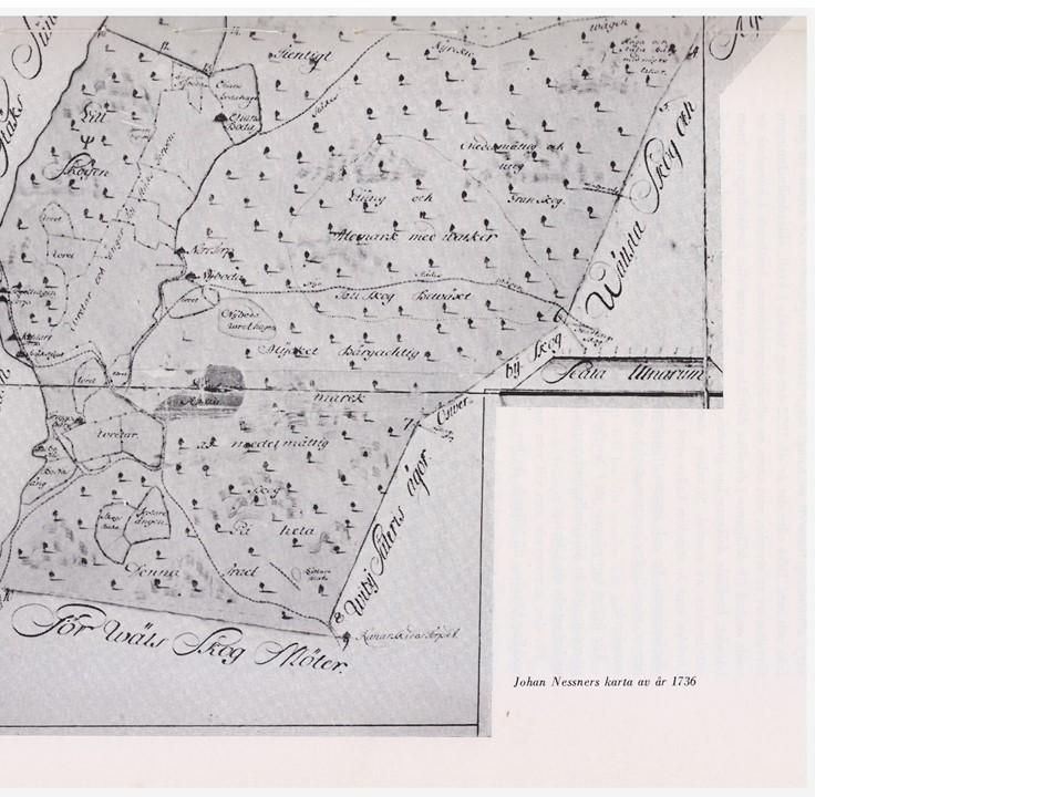 Karta södra delen Häradsallmänningen 1736