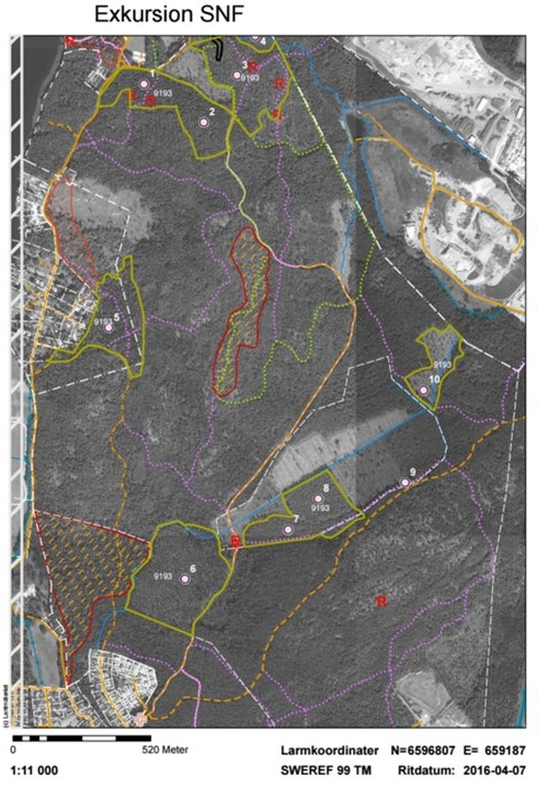 Karta excursion Häradsaallmänning