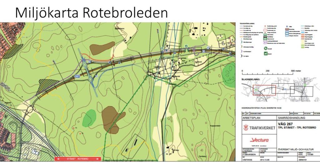 Miljökarta Rotebroleden. Källa: Trafikverket.