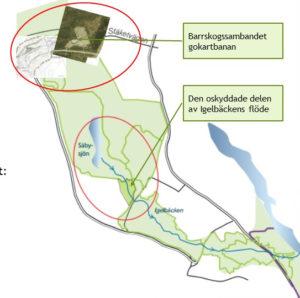 Kartbild som visar på de svaga sambanden vid Igelbäcken och Rotebroleden